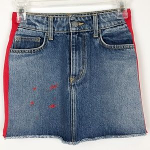 LF Carmar Denim Red Stripe Starburst Mini Skirt 23